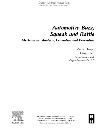 Automotive Buzz Squeak And Rattle Mechanisms Analysis Evaluation And Prevention