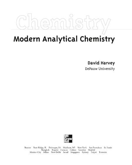 Modern Analytical Chemistry David Harvey 1st Ed 2000
